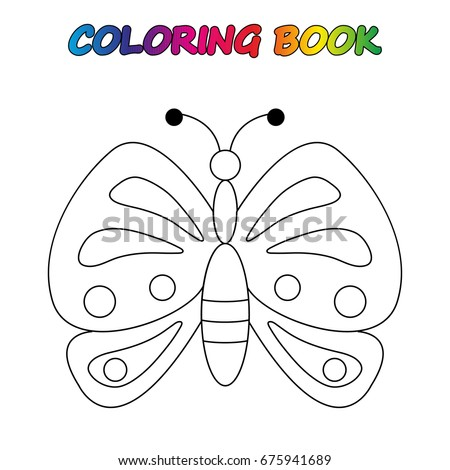 Butterfly Coloring Book Game Kids Vector Stock 675941689
