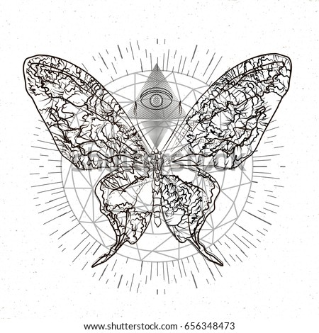 Butterfly Combined Sacred Geometry Tattoo Mystical And Esoteric For T Shirts Design Vector