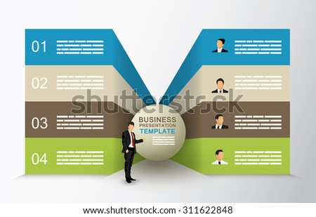 Butterfly diagram template with four options and a businessman character - stock vector