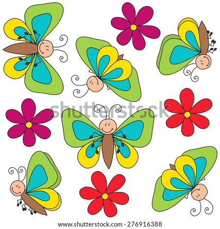 Butterfly drawing with flowers vector illustration seamless pattern