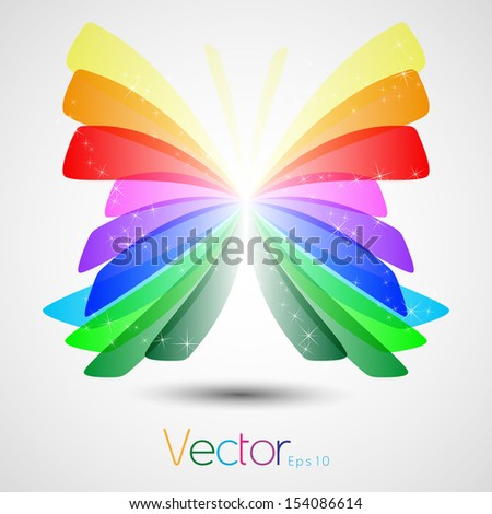 butterfly flower geometric silhouette multicolored in vector format - stock vector