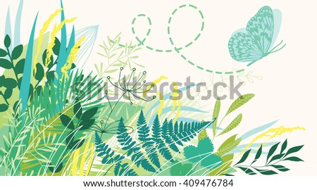 Butterfly flying out of grass - stock vector