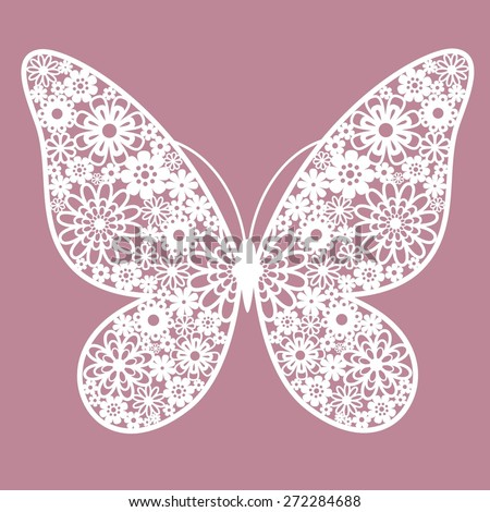 butterfly from flowers - stock vector