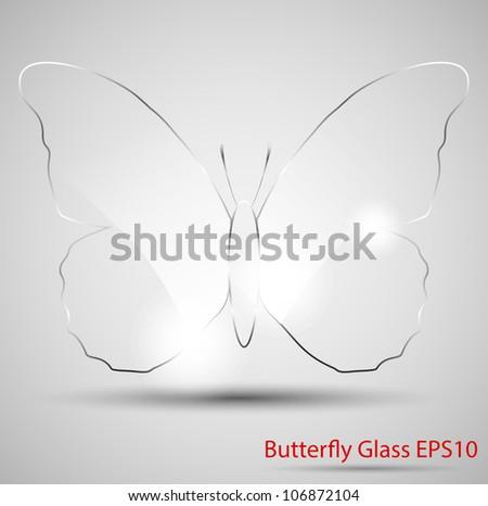 Butterfly glass, vector illustration, EPS10 - stock vector