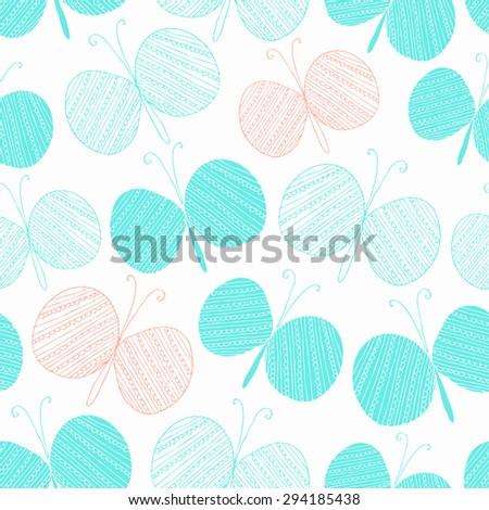Butterfly hand drawn seamless background. Vector illustration. - stock vector