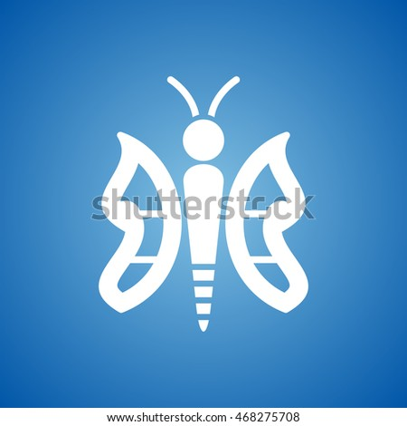 Butterfly Icon on blue color.