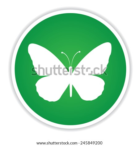 Butterfly icon on green button background,clean vector - stock vector