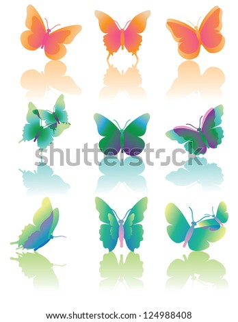 Butterfly Icons EPS 8 Vector No open shapes or paths, grouped for easy editing.