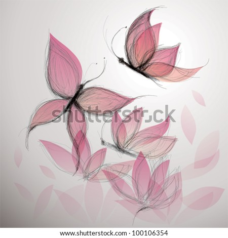 Butterfly like flower / Surreal floral background - stock vector