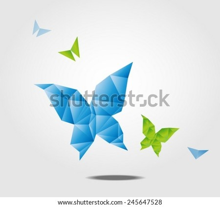 Butterfly made from polygon - stock vector