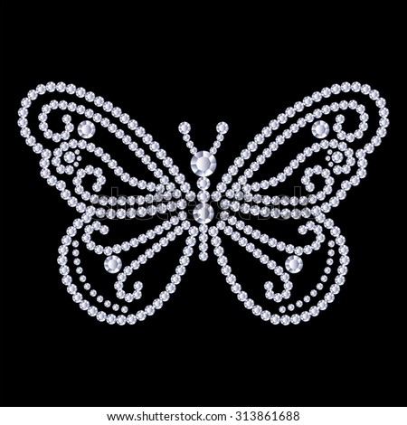 Butterfly, made with shiny diamonds. Isolated on the black background. Vector illustration. - stock vector
