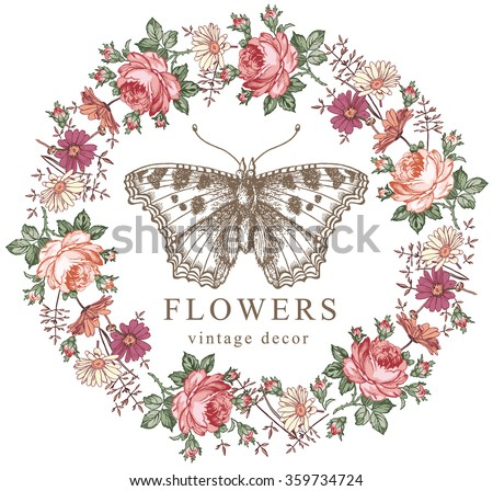 Butterfly, moth. Insect. Greeting card, label. Beautiful frame. Flowers realistic. Chamomile, Rose, Wildflowers. Engraving, drawing. Freehand. Flora. Fauna. Vector victorian style Illustration. - stock vector