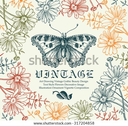 Butterfly, moth. Insect realistic. Greeting card. Poster. Beautiful round frame. Flowers. Chamomile, Wildflowers. Flora Fauna. Engraving, drawing. Freehand drawing. Vintage vector stock illustration.  - stock vector
