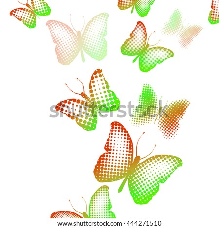 Butterfly of dot. Color background. Vector - stock vector