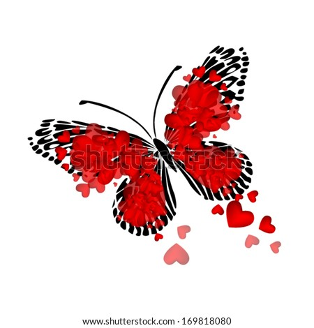 Butterfly of red hearts. Vector - stock vector