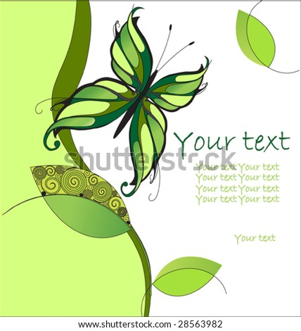 Butterfly on a abstract background with leaves
