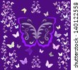 Butterfly on a purple background with interlacing lines - stock vector