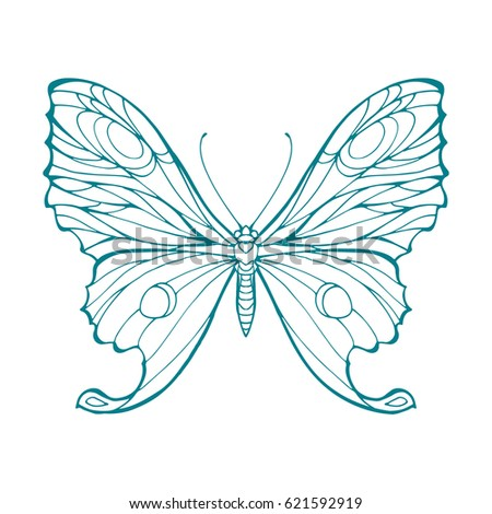 Butterfly Outline Isolated Coloring Page Hand Stock Vector (2018 ...
