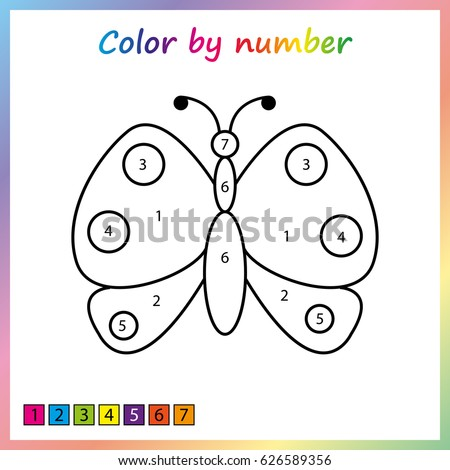 butterfly painting page color by numbers stock vector 626589356 shutterstock. Black Bedroom Furniture Sets. Home Design Ideas