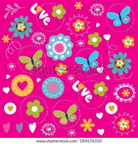 butterfly pattern flower garden background vector illustration - stock vector