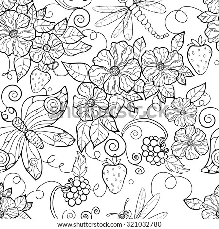 butterfly pattern flowers coloring pages for adults