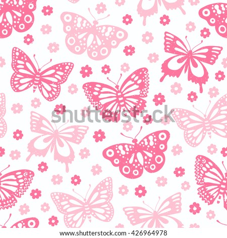 Butterfly seamless background. Vector illustration. Cloth design, wallpaper, wrapping. - stock vector