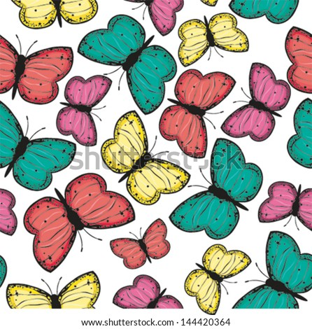 Butterfly seamless pattern. EPS 10 vector illustration. - stock vector