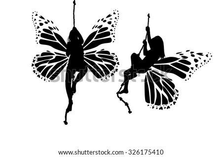 Butterfly silhouette girl. Vector - stock vector