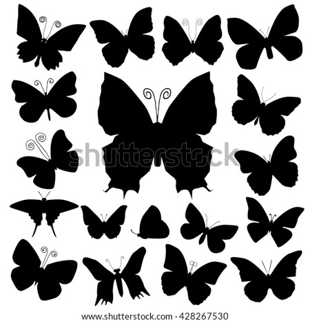 Butterfly silhouettes - stock vector
