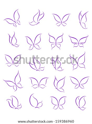 Butterfly silhouettes set for decoration or tattoo design or idea of logo. Jpeg version also available in gallery - stock vector