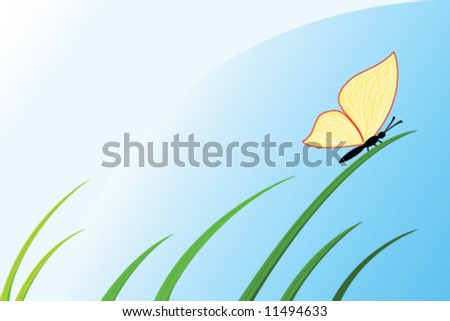 butterfly sit on grass under blue sky - stock vector