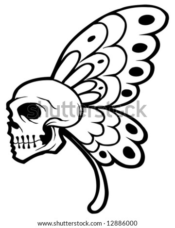 butterfly skull tattoo - stock vector