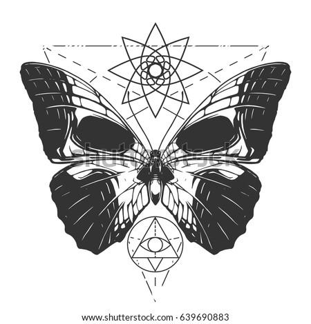 butterfly skull tattoo stock vector 639690883 shutterstock rh shutterstock com Butterfly Skull Flower Tattoo Sugar Skull Butterfly Tattoo