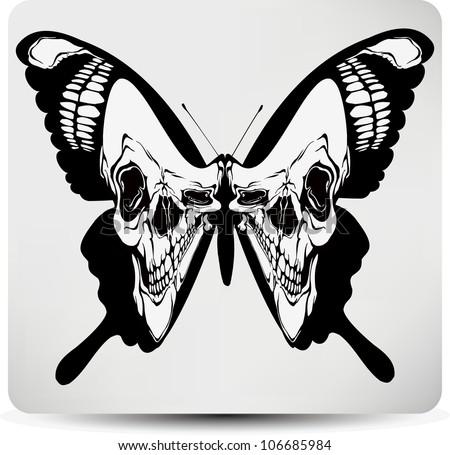 Butterfly skull. Vector illustration. - stock vector