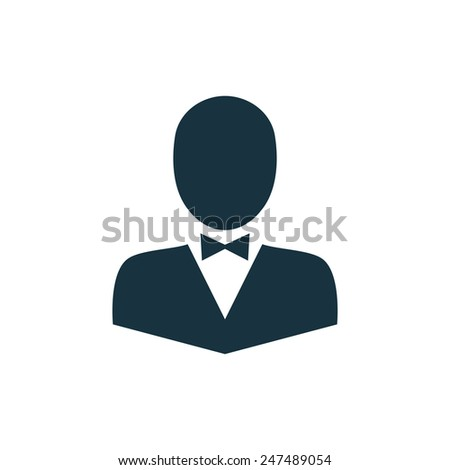 butterfly tie icon on white background  - stock vector