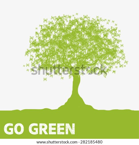 Butterfly Tree Go Green - stock vector