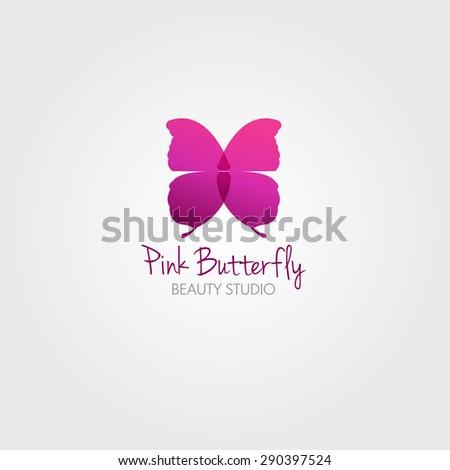 Butterfly. Vector design concept for beauty salon or studio. Vector logo template. - stock vector