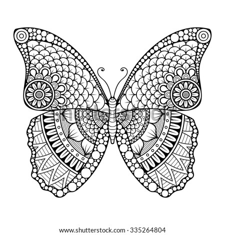 Butterfly. Vintage dec... Flower Design Coloring Pages