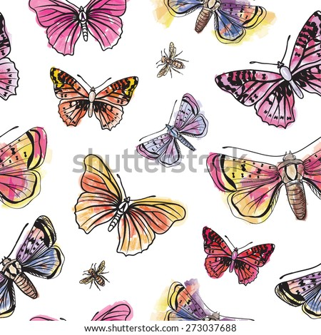 Butterfly watercolor seamless pattern. Summer spirit background.