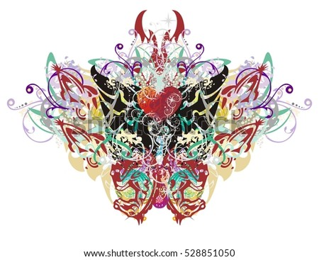 Butterfly wings splashes. Grunge tribal festival butterfly formed by colorful floral splashes and the heads of horses