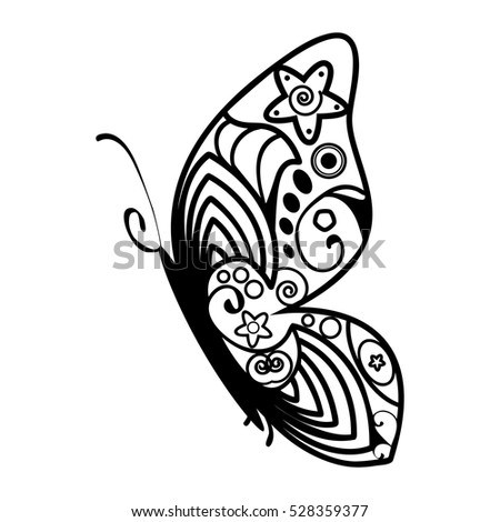 Butterfly with abstract patterning on wings icon in simple style isolated on white background. Insect symbol