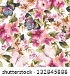 butterfly with floral seamless pattern on blue background - stock vector