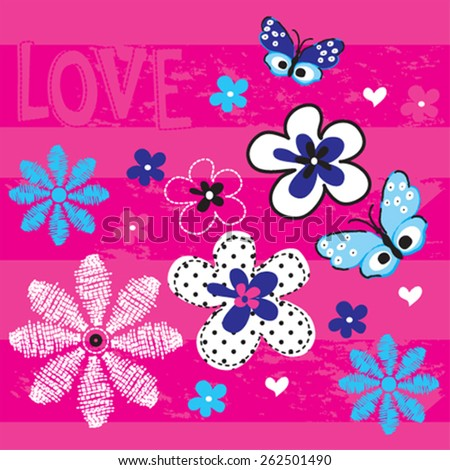 butterfly with flowers on striped background, love card, T-shirt design vector illustration - stock vector