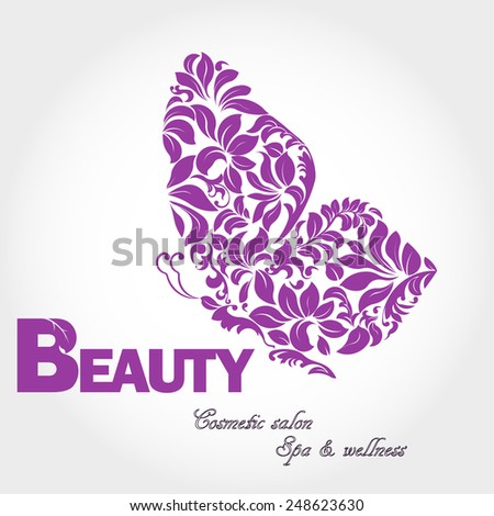 Butterfly with patterned wing logo, business sign template for beauty industry, cosmetic salon, concept of femininity, icon, flower, logotype, insignia, vector element, floral design template - stock vector