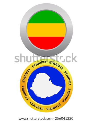 button as a symbol  ETHIOPIA flag and map on a white background  - stock vector