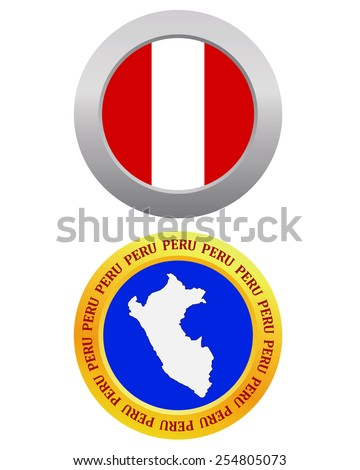 button as a symbol  PERU flag and map on a white background