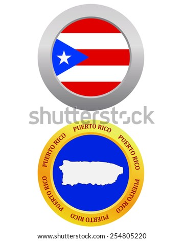 button as a symbol  PUERTO RICO flag and map on a white background