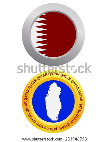 button as a symbol QATAR flag and map on a white background