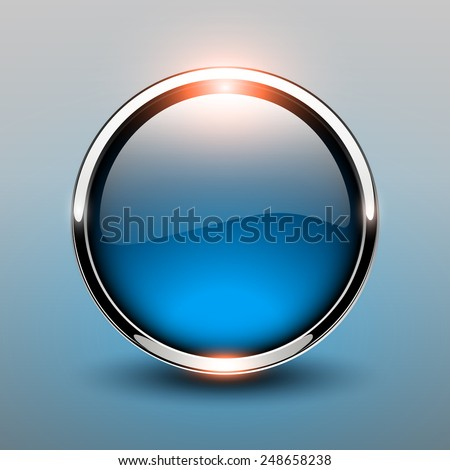 Button blue glossy, shiny metallic, vector illustration - stock vector