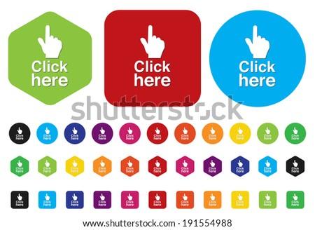 Button Click Here - stock vector